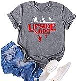 Upside Down Stranger Things T Shirt Vintage Tees for Women Novelty Short Sleeve Blous Tops (Gray-2, Medium)
