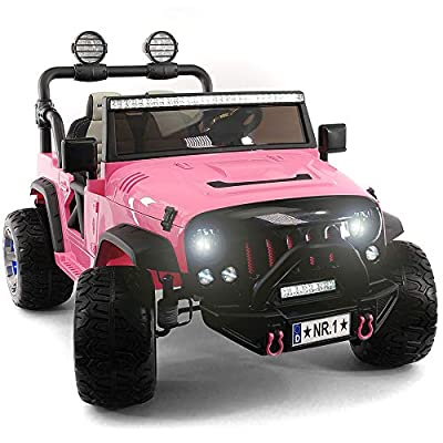 2020 Two (2) Seater Ride On Kids Girls Car Truck w/ Remote Control | Large 12V Power Battery Licensed Kid Car to Drive w/ 3 Speeds, Leather Seat, MP3 Music Player Bluetooth FM Radio, Foam Rubber Tires