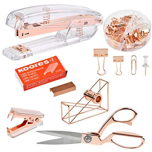 YOTINO Rosegold Desk Accessory Kit Stapler Bundle,Stapler and Paper Clips,Scissors,Tape Dispenser, with 1000 PCS Rose Gold Staples,22 PCS Binder Clips