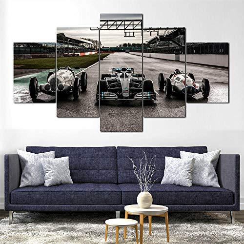 5 Piezas Lona Murales Cuadro Moderno Lienzo Fórmula 1 De Flechas De Plata Arte Pared Alta Definición Pintura Decorativa Home Dormitorio Óleo Lona Pintura Mural Regalos(Enmarcado)