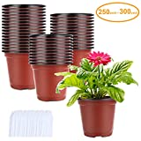 250-Pack 4 Inch Plant Nursery Pots Seed Starting Pots Containers with 300 Labels