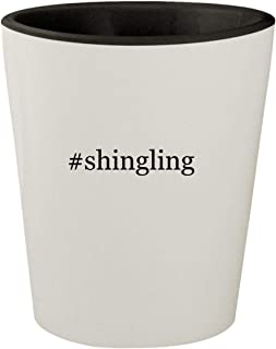 #shingling - White Outer & Black Inner Hashtag Ceramic 1.5oz Shot Glass