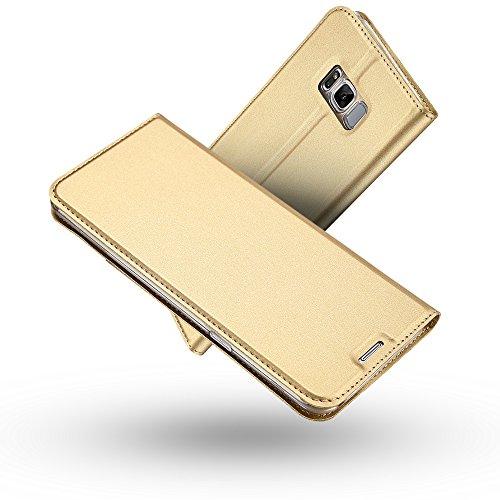 Radoo Galaxy S8 Hülle,Galaxy S8 Lederhülle, Premium PU Leder Handyhülle Brieftasche-Stil Magnetisch Klapphülle Etui Brieftasche Hülle Schutzhülle Tasche für Samsung Galaxy S8 (Gold)