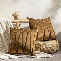 Topfinel クッションカバー 45×45CM 北欧 可愛い ベルベット 斜線 ソファ背当て 装飾枕カバー 座布団カバー ブラウン#8 2枚セット
