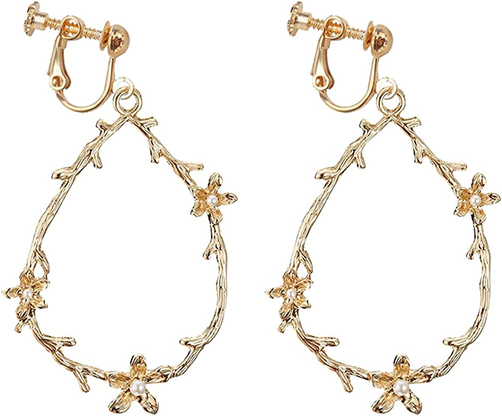 Clip On Drop Earrings Geometric Teardrop Non Piercing Hoop Simulated Pearl Flower Dangle Jewelry for Girls Women Princess Wife Girlfriend Gifts at Birthday Party Prom