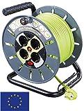 Masterplug AVVOLGICAVO con Cavi 40m Verde, Grigio–4X Prese di Corrente con Protezione da sovratensioni