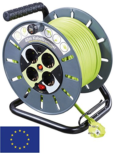 Kabeltrommel mit Kabelführung 40 m, Grau-Grün - 4X Schutzkontaktsteckdosen mit Überspannungsschutz