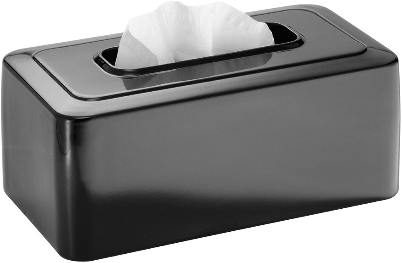 InterDesign Olivia Facial Tissue Box Cover Holder for Bathroom Vanity Countertops - Black