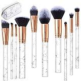 Brochas de Maquillaje, 10 Piezas Pinceles de Maquillaje Profesional Fibra Sintética para Cejas, Base de Maquillaje, Polvos, Crema, Set de Brochas de Maquillaje