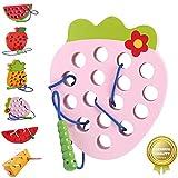 Sunshine smile Juguetes Montessori,Rosca Juguete de Madera, Cordón de Madera Enhebrar Juguete,Niños Niños Aprendizaje Temprano Educativo Bloque de Madera Rompecabezas de Juguete (Fresa)