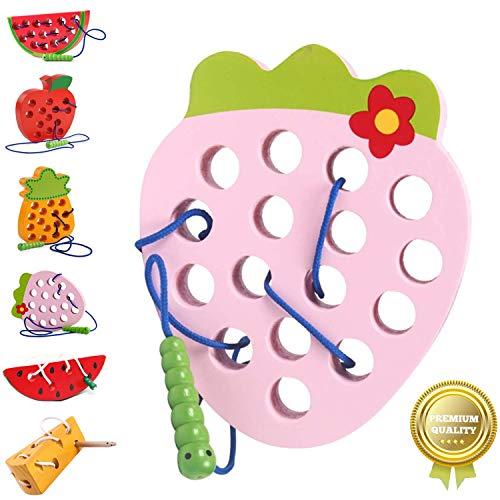 Sunshine smile fädelspiel Erdbeere,fädelspiel Holz,einfädeln Spielzeug,Montessori Spielzeug Holz,Threading-Spiele,Reise Spiel frühes,motorikspielzeug,fädelspiel für Baby Kinder