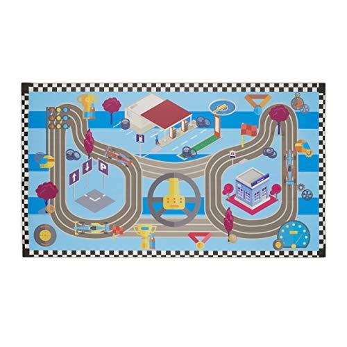 Relaxdays Spielmatte Rennstrecke, schadstofffrei, abwaschbar, rutschfest, Spielteppich Kinder, PVC, 140 x 80 cm, bunt