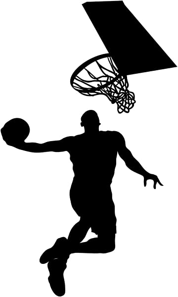 DNVEN 16 Inches X 28 Inches Vinyl Basketball Players Slam Dunk Silhouette With Basketball And Basketry Wall Decals Stickers Murals For Basketball Fatheads Kids Teens Boys Rooms