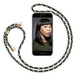 """ZhinkArts Handykette kompatibel mit Apple iPhone 7/8 / iPhone SE (2020) - 4,7"""" Display - Smartphone Necklace Hülle mit Band - Handyhülle Case mit Kette zum umhängen in Grün Camouflage"""