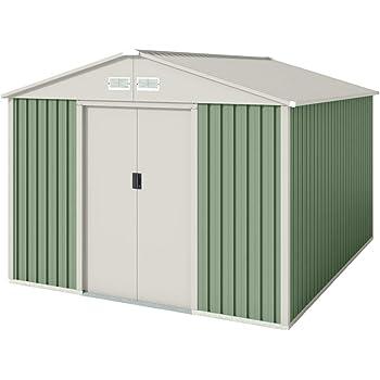 Hoggar by Okoru Caseta metálica Verde/Beige para Almacenamiento 7,86 m2 261x301x198cm. Cobertizo Jardin: Amazon.es: Bricolaje y herramientas
