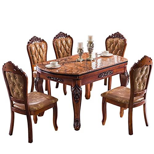 HMBB Tavolo da pranzo, tavolo da pranzo telescopico in marmo con giradischi, legno massello intagliato tavolino rotondo pieghevole con 5 sedia, mobili da cucina senza sedia, 135x135x76cm