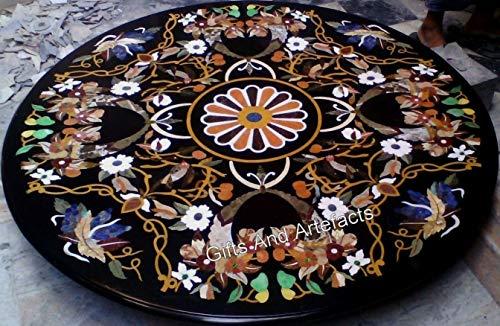 Muebles decorativos perfectos con incrustaciones de mármol negro de la mesa de comedor de la mesa redonda del sofá 48 pulgadas