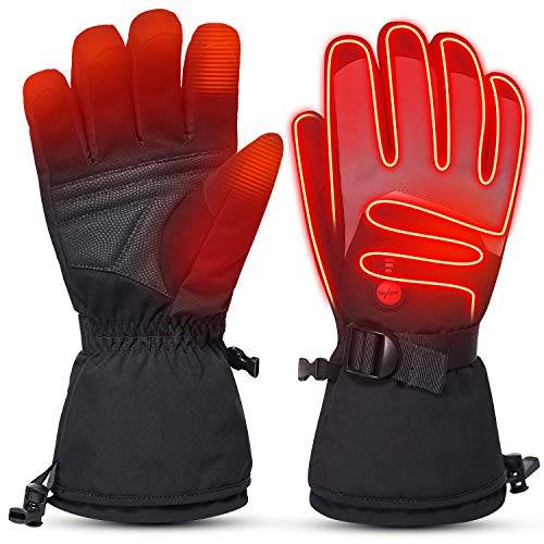 day wolf Heated Gloves Touch Screen for Men Women with Waterproof, 7.4V 2200mAh Electric Rechargeable Battery Gloves for Winter Skiing Skating Snowboarding Camping Hiking Hand Warmer Gloves