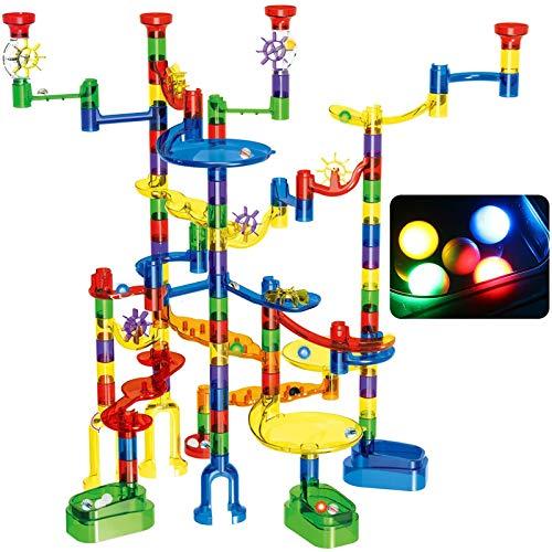 Glonova Kugelbahn, 149 Stück Mehrfarbige Murmelbahn Marble Run Set mit Glasmurmeln und Bahnelementen Lernspielzeug für Kinder