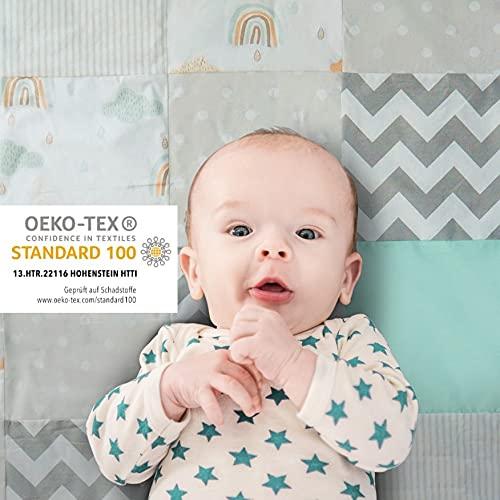 Mammacita Baby Krabbeldecke - 120 x 120 cm gepolsterte OEKO-TEX 100 Krabbelmatte für Baby - Antirutsch - Baby Aktivitätsmatte - bequeme Baby Matte für Boden - hautfreundliche Baby Spielmatte