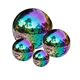 GDglobal Edelstahl Gazing Ball Spiegel poliert hohle Kugel Reflektierende Garten Kugel für Haus Garten Dekoration (80 mm + 100 mm + 120 mm + 150 mm, Regenbogen)