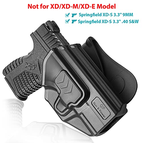 Springfield XD-S Holster, OWB Paddle Holster Fit Springfield XD-S 9mm/.40 S&W 3.3
