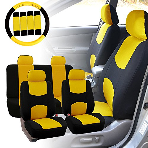 FH Group FB038114 Stylish Cloth Full Set Car Seat Covers w. Steering Wheel Cover...