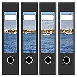Ordneretiketten | 4 Aufkleber für breite Akten-Ordner | Boote im Süden 2 | selbstklebende Design Akten-Etiketten | Deko Sticker für Rückenschilder Ordnerrücken | zum Beschreiben