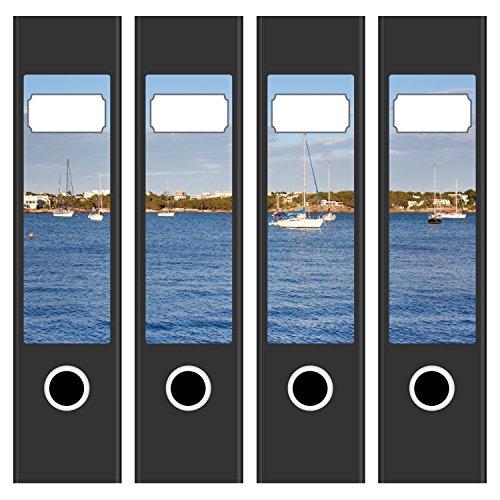 Ordneretiketten   4 Aufkleber für breite Akten-Ordner   Boote im Süden 2   selbstklebende Design Akten-Etiketten   Deko Sticker für Rückenschilder Ordnerrücken   zum Beschreiben