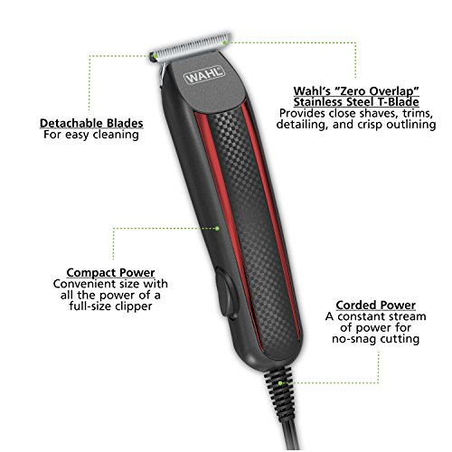 Wahl T-Styler Pro Bump Free Corded Beard Trimmer, Hair Clipper, Haircut Clipper & Grooming Detailer Kit for Men – for Edging Beards, Mustaches, Hair, Stubble, Ear, Nose & Body – Model 9686-300