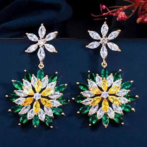 SALAN Circones Hermosos Topacio Verde Esmeralda Amarillo Lujo Grandes Pendientes Largos Colgantes De Flores para Fiesta De Boda para Mujeres