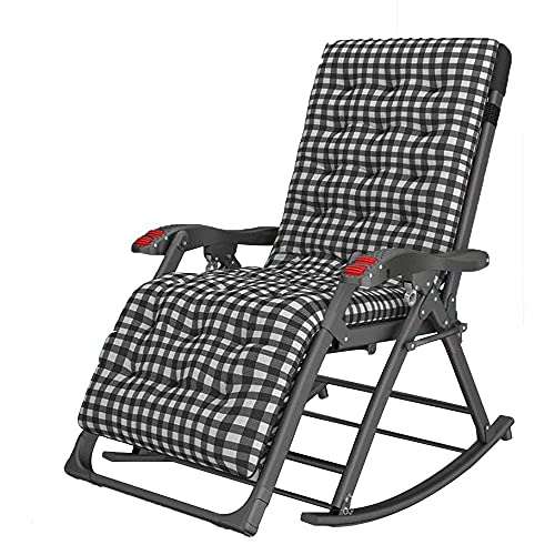 campung chair, Patio Lounge Chairs Garden Rocking Chair with mattress Folding Recliner Outdoor Adjustable Sun Lounger Rocker Zero-Gravity Seat with Headrest Side Holder Patio Deck Supports up to 1000