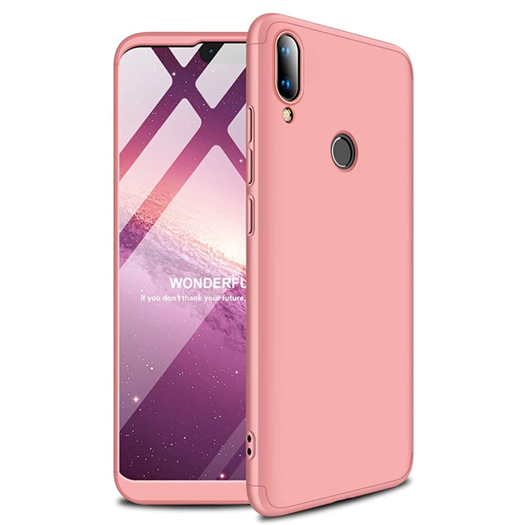 EMAXELER Huawei Y9 2019 Case 3 in 1 Ultra Slim 360°Degree Full Body Shockproof Protector Hard PC Plastic Anti-Scratch Cover for Huawei Y9 2019 / Huawei Enjoy 9 Plus.3 in 1 PC:Rose Gold