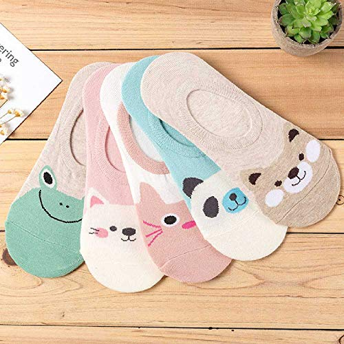 TUOLUO 5 Paar Damen Socken Bonbon Farbe Kleintier Cartoon Muster Boot Socken Sommer Atmungsaktive Freizeit Mädchen Interessant 5 Farben 5 Paare