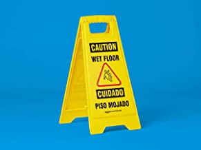 AmazonCommercial 2-Sided Floor Safety Sign - Caution Wet Floor, Bilingual - 4-Pack