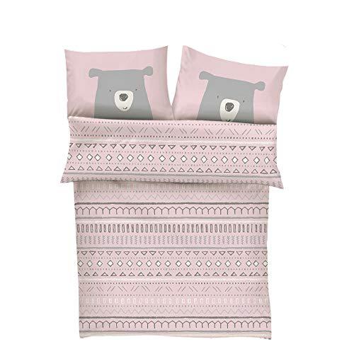 s.Oliver Bettwäsche 100x135 Mädchen Bär - Kinderbettwäsche rosa 100% Baumwolle hochwertiger Makosatin 2 teiliges Set aus Babybettwäsche 135x100 cm und Kissen 40x60 cm Reißverschluss