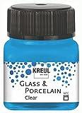 KREUL 16296 Glass & Porcelain - Pintura para Cristal y Porcelana (Base de Agua, Secado rápido, Transparente, 20 ml), Color Azul