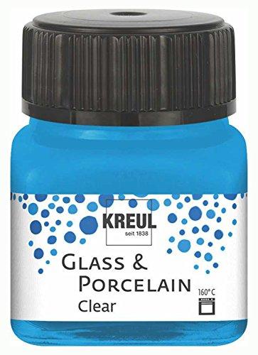 Kreul 16296 - Glass & Porcelain Clear wasserblau, im 20 ml Glas, transparente Glas- und Porzellanmalfarbe auf Wasserbasis, schnelltrocknend, glasklar