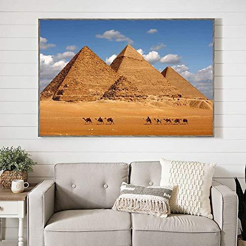 wZUN Afiches de paisajes piramidales y lienzos Impresos. Pared de Arte escandinavo. La Imagen es una Sala de Estar 50x70cm.