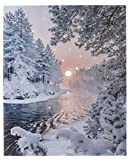 "Oak Street Lighted Canvas w/Timer - Winter River Scene (17"" x 14"")"
