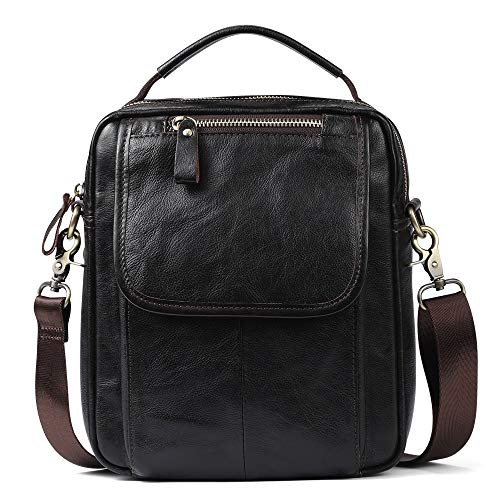 LCSD Backpacks Leather Men's One Shoulder Adjustable Length Crossbody Fashion Casual Vertical Men's Handbag
