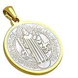 Colgante de acero inoxidable dorado – Medalla con grabado en nácar – Religión católica
