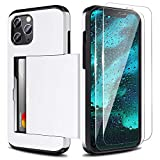 Zuslab Wallet case for iPhone 12/ iPhone 12 Pro with Card Holder Shockproof Anti Scratch Compatible with iPhone 12/ iPhone 12 Pro with Screen Protector[x2Pack] White