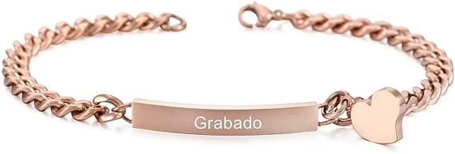 MeMeDIY Acero Inoxidable Pulsera Brazalete Eslabones Link Enlace Corazón Heart Pulido - Grabado Personalizado