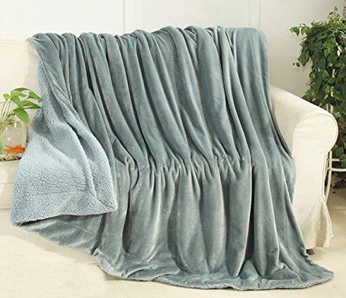 YIYIDA Kuscheldecke XXL Fleecedecke Größe 100 x 120 cm aus Soft Woll-Fleece, Elegant Blau Sofadecke Wohndecke beidseitig-Decke
