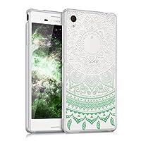 kwmobile 対応: Sony Xperia M4 Aqua ケース - スマホカバー - 携帯 保護ケース インド太陽デザイン ミント/白色/透明 ソニー エクスペリア アクア