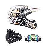 Senhill DOT Motocross Helmet Unisex Offroad Helmet Dirt Bike ATV Motorcycle Helmet Gloves Goggles (White, M)