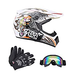 dirt bike helmets with goggles and gloves