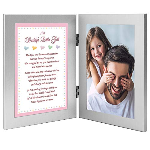 Daddy's Little Girl Sweet Gift from His Daughter, Add 4x6 Inch Photo to Double Frame