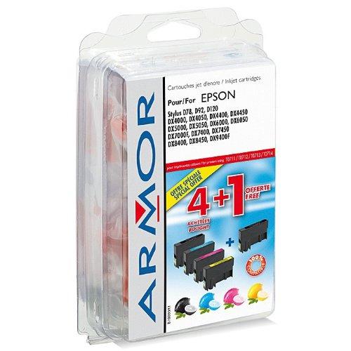 5 x Patronen für Epson Stylus DX 8450 (2xBlack, je 1x C, M, Y) Perfekte Qualität Armor Druckerpatronen kompatibel für DX8450, je 7, 5ml